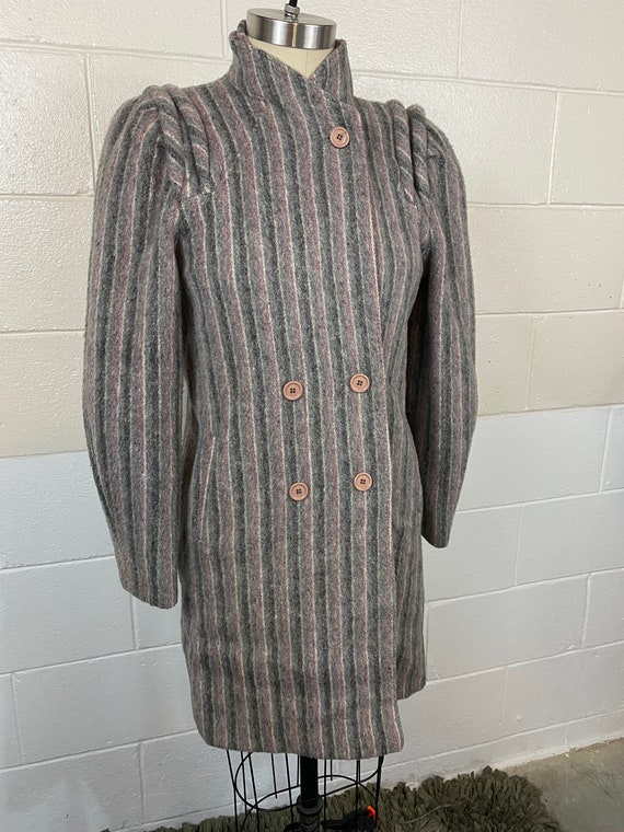 Vintage 80s Wool Striped Gray Puff Sleeved Pea Coa