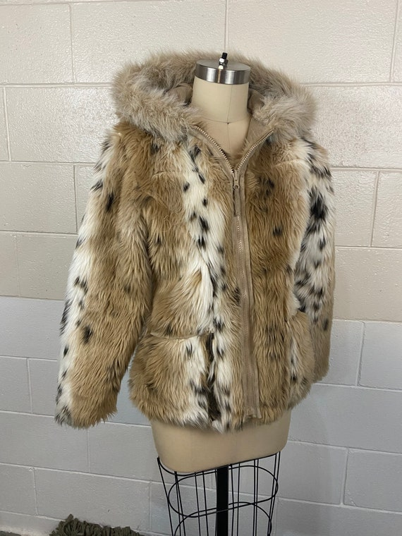 Vintage 70s Leopard Monster Fur Hooded Coat Small