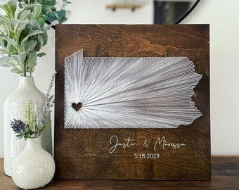 CUSTOM State String Art with Heart- Any State! Anniversary/Wedding Gift