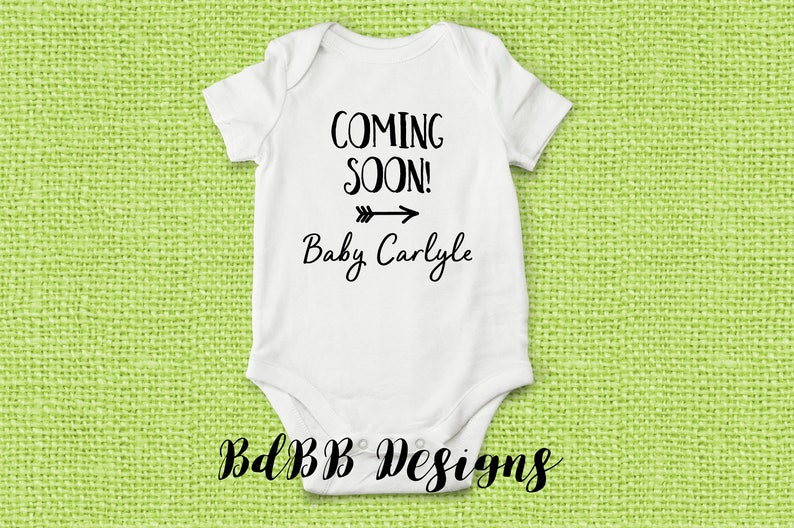d896fa765 Coming Soon Personalized Custom Pregnancy Announcement Onesie | Etsy