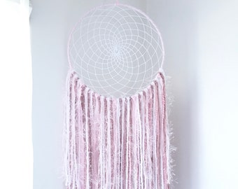 Light Pink Dream Catcher, Large Pink and White Dreamcatcher, Girly Dream Catcher, Boho Dreamcatcher, Baby Girl Nursery, Dreamcatchers, Pink