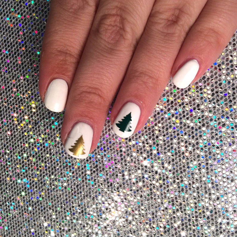 20 Christmas Tree Shaped Vinyl Nail Decals For Nail Art In 20 Etsy
