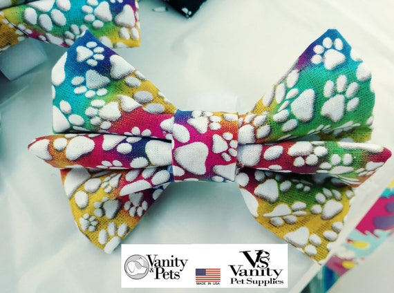 Removable pet Wow bow ties (Special needs label on request NO EXTRA CHARGE!)