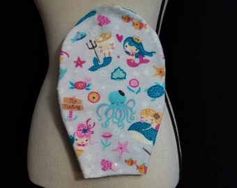 Ostomy Bag Cover, Mermaids, Flannel, Open End, Snap Closure, Colostomy Bag Cover, Stoma Bag Cover, Ileostomy, Urostomy, Pouch Cover