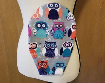 Ostomy Bag Cover, Owls, Flannel, Open End, Snap Closure, Colostomy Bag Cover, Stoma Bag Cover, Ileostomy, Urostomy, Pouch Cover