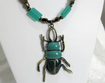 "Beetle Enameled teal beetle Insect necklace set, Teal & brass beetle, Teal beetle pendant 24"" necklace set with 1.25"" dangle earrings, 5-10"