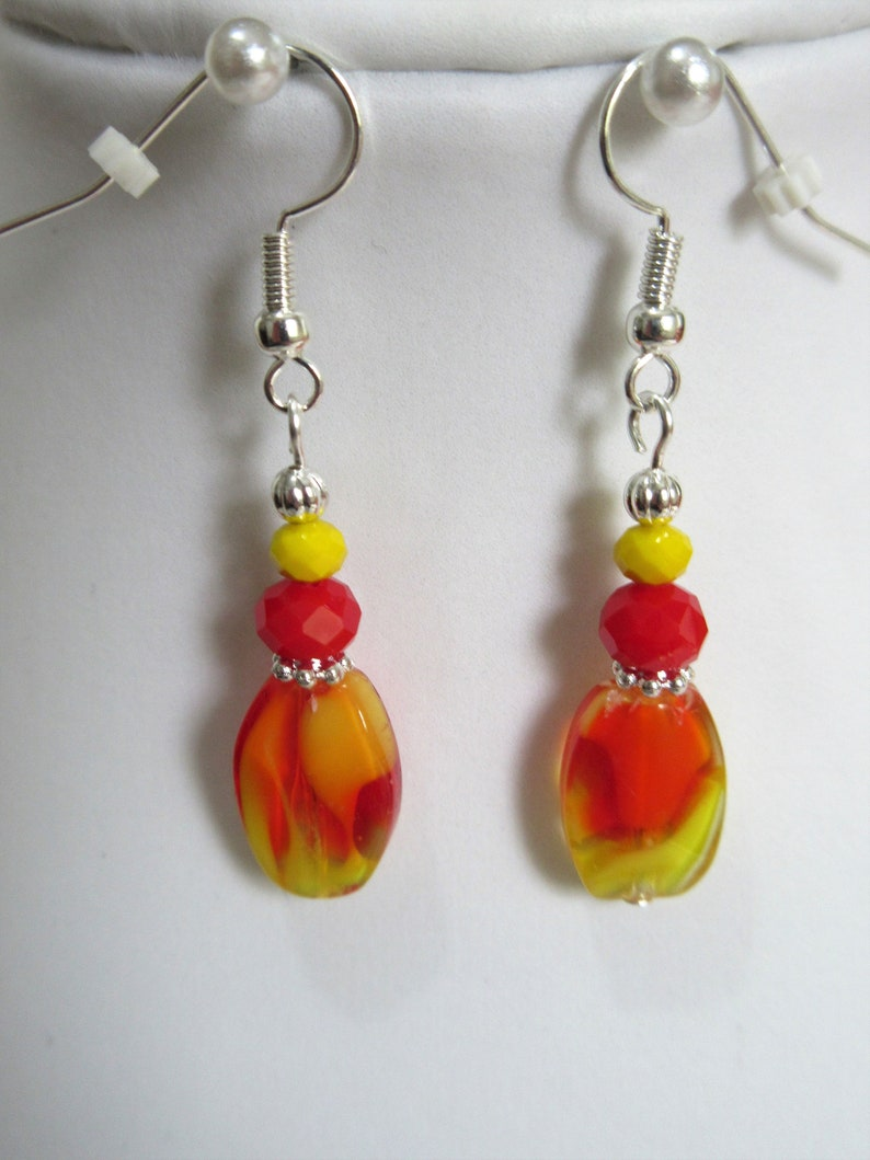 1 earrings extra long 40 necklace 14-16 autumn colors 1 or 2 strands Orange and yellow long lampwork necklace red /& yellow crystals