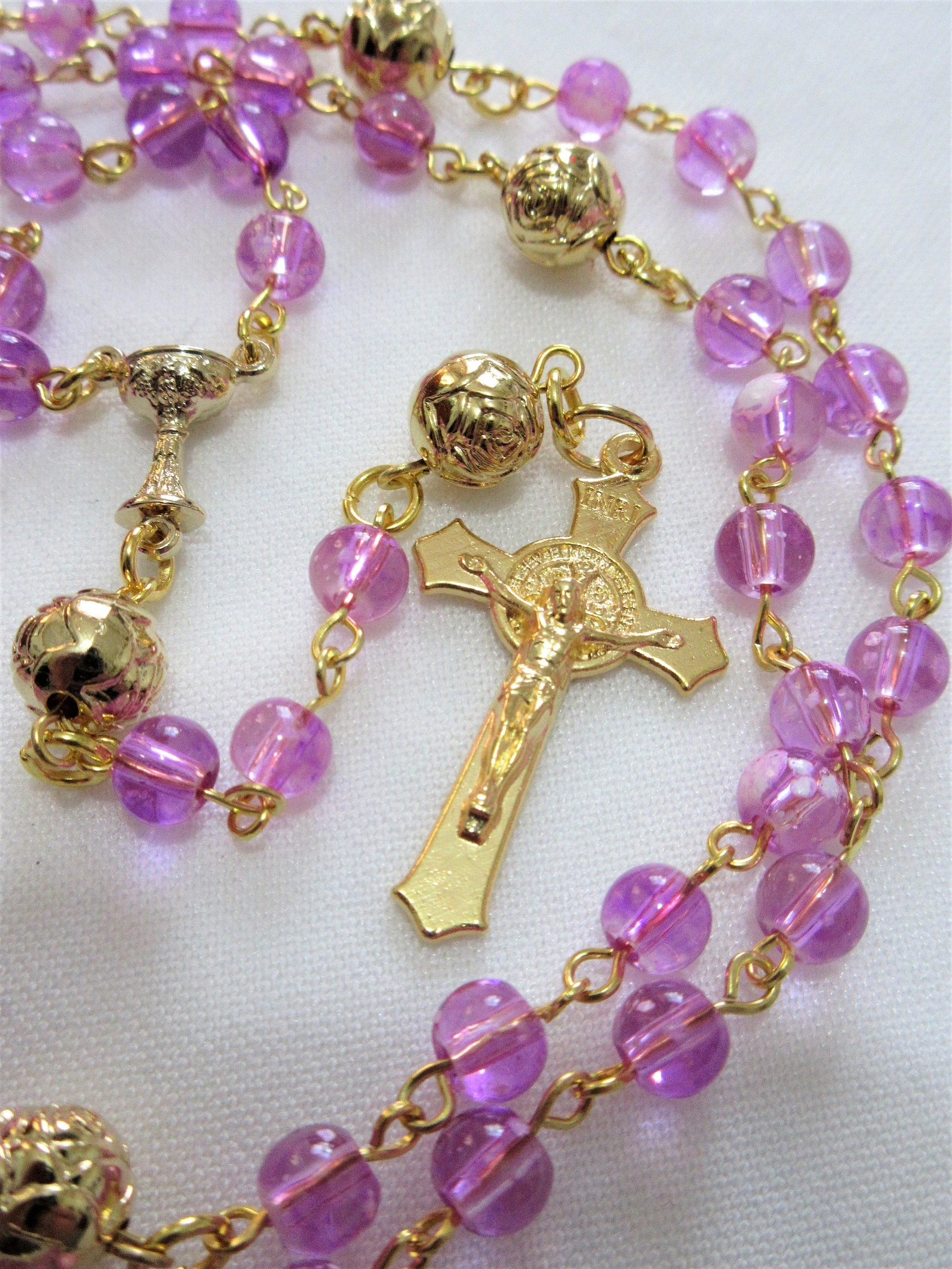 Pink Catholic rosary First Communion 5 decade rosary gold