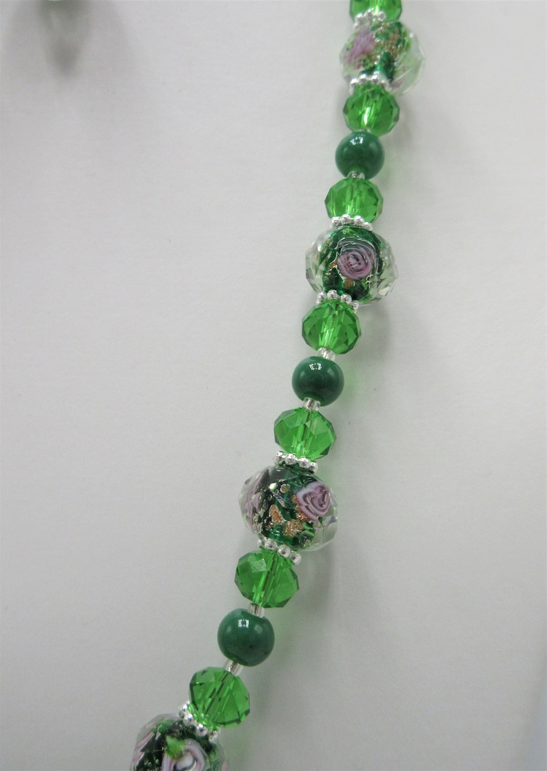 19 lampwork necklace set with 34 earrings 234 Green gold sand lampwork with solid core and green crystals jewelry set