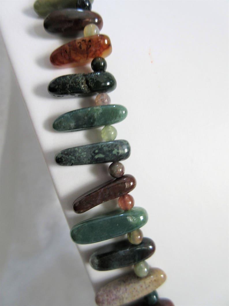 multicolored gemstone daggers 29 long necklace with 1 earrings F-8 earthtones Fancy Jasper gemstone jewelry set