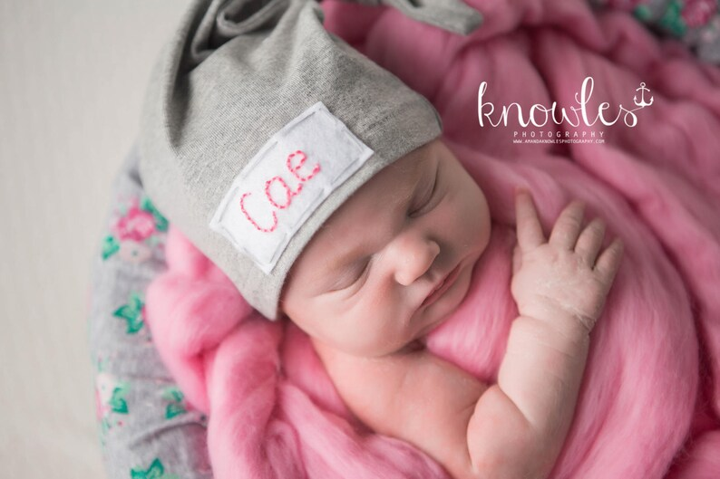 007a6d9fb baby monogrammed hat, name hospital hat,baby knot hat name,personalized  newborn hat, babyshower gift, baby girl, hospital hat, baby name hat
