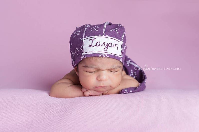 d95278421d2 Newborn baby personalized hat baby shower gift hospital hat