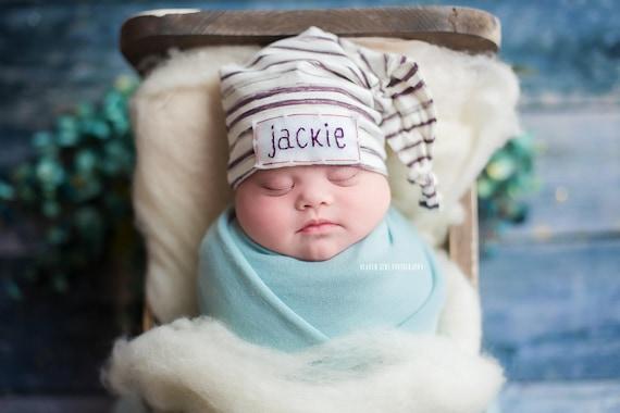 c4880400c12 newborn baby personalized hat baby shower gift hospital hat