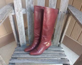 198e99091 Vintage Etienne Aigner Leather Boots Original Oxblood Knee High Burgundy  Boots Handcrafted Leather Style 7950 Size 6 M