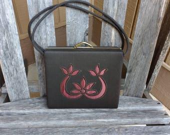 913a366c20 Vintage Floral Fabric Box Handbag Square Art Deco Top Handle Bag Medium  Purse