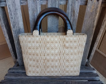 ca85026aac Vintage Woven Top Handle Handbag Brown Beige Tan Cream Wood Top Handle Bag  Made in Thailand