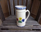 Vintage Crock Shop Floral Pansey Pitcher Tall Country Flowered Vase Made in Santa Ana, CA USA