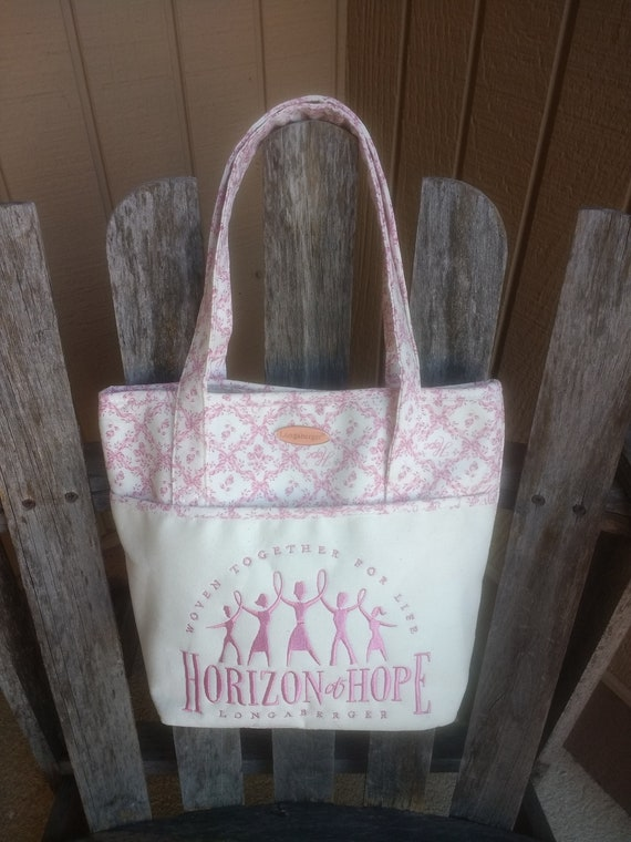 American Cancer Society Horizon of Hope Breast Cancer Awareness Longaberger Pink and White Ribbon Tote Purse