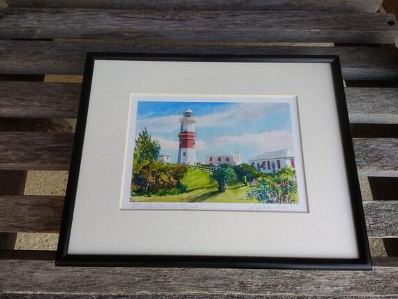 Vintage St David S Lighthouse Print Diana Amos St David S Island In Bermuda Art Signed Print Framed 8 X 10 Matted 4 X 6