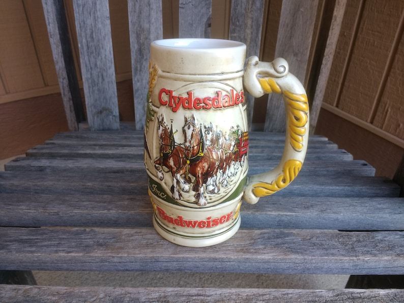 Rare Vintage Ceramarte Budweiser Clydesdales Stein Anheuser-Busch Beer  Stein Exclusively Handcrafted for Promotional Products Made in Brazil
