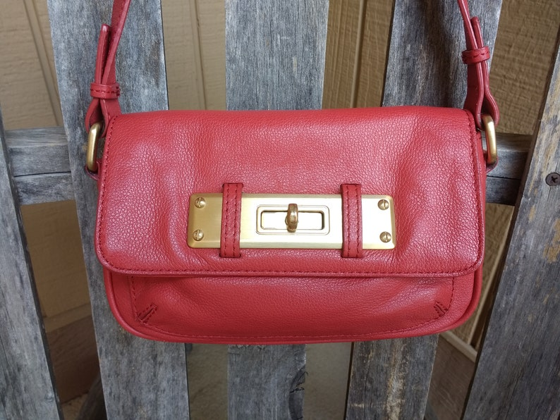 807ea19f67 Vintage Talbots Red Leather Handbag with Gold Hardware Top