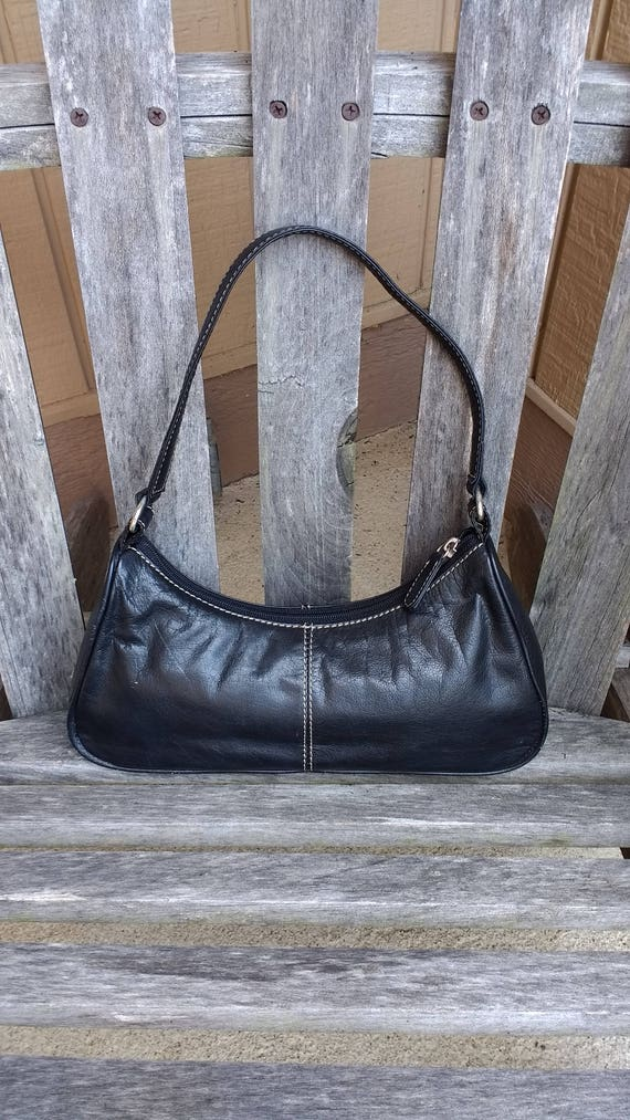 Vintage 47 Maple Small Black Soft Leather Shoulder Handbag  f00fe6a11bf94