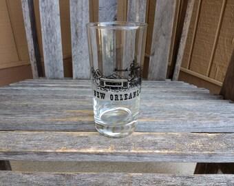 "Vintage New Orleans Louisiana Glass French Quarter Souvenir Mardi Gras Glass Height 5 1/2"""