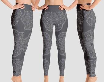 Gray Yoga leggings Gray legging Mandala leggings Gray Yoga tights Gray tights Mandala tights Plus size tights boho leggings printed leggings