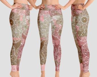 Coral mandala watercolor all over print pink yoga leggings blush coral colors mandala yoga pants pink brown yoga tights yoga pants plus size