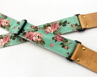 d8fac18281ec NuovoDesign Turquoise floral Guitar strap
