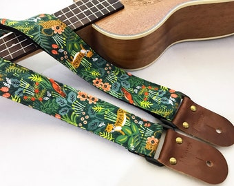 NuovoDesign Jungle ukulele strap with leather ends, tie string and end pin included