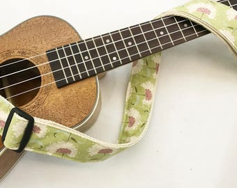 NuovoDesign Treebloom Ukulele strap with leather ends,  end pin and tie string included