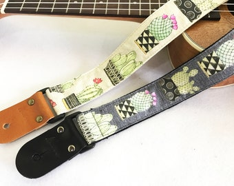 Promotion price item! NuovoDesign cactus ukulele strap with leather ends, tie string and end pin included