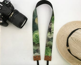 NuovoDesign tasteful and unique 'Blossoms by the grass' tie dyed camera strap for DSLR and mirrorless