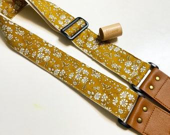 NuovoDesign  L l B E R T Y  Tasteful, classy little floral prints in mustard Guitar strap,  end pin and string included,