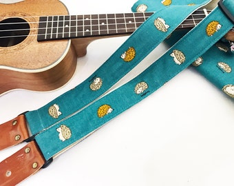 Early Bird price! NuovoDesign Hedgehog ukulele strap with genuine leather ends, free tie string and end pin
