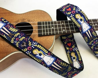 NuovoDesign Alice ukulele strap multifunctional with loop fastener or leather heads with tie string
