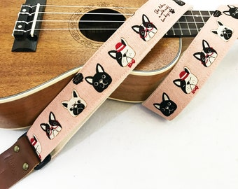 Early Bird Promotion price! NuovoDesign Dog faces ukulele strap with genuine leather ends