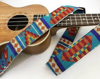NuovoDesign 'Beads' ukulele strap with leather adapter, Italian leather heads