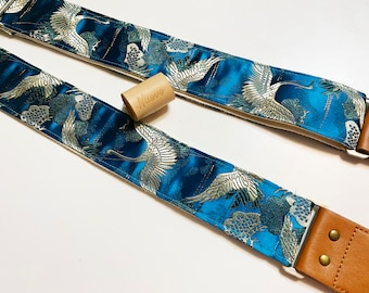 """NuovoDesign """"Crane""""  teal Guitar strap. tie string and end pin included, vegan leather"""