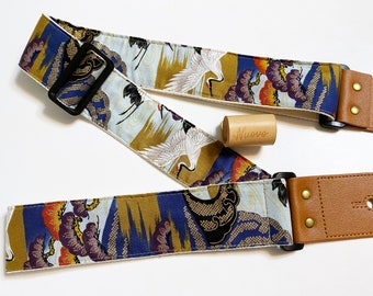 NuovoDesign 'Crane over the pine'  Guitar strap, free tie string and end pin, vegan leather