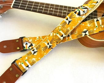 Early bird price! NuovoDesign King of Forest ukulele strap with leather ends, tie string and end pin included