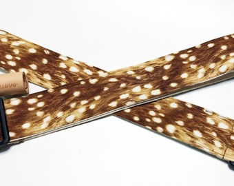 NuovoDesign  Deer skin prints Guitar strap. vegan leather ends , with free tie string