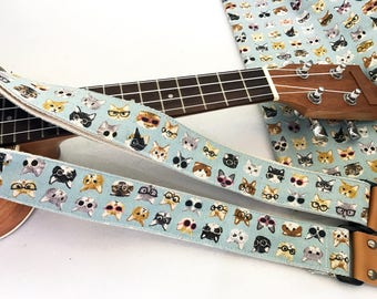 Promotion price! NuovoDesign Cat faces ukulele strap with genuine leather ends