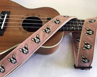 NuovoDesign French bulldog ukulele strap multifunctional with hook or leather heads with tie string