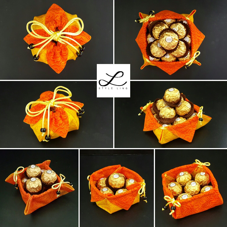 Omiyage Gift Pouch/ Reversible Japanese Bag/ Flower Bag/ Fabric Gift Bag/ Red Bag/ Black Bag/ Small Bag/ Sakura Bag/ Chrysanthemum/Jewel Bag