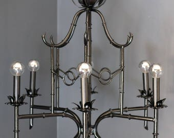 Bamboo chandelier etsy vintage faux bamboo pagoda chinoiserie 6 arm chandelier excellent condition aloadofball Images