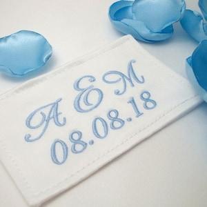 Personalized Wedding Something Blue Flourish Frame Monogram Bridal Dress Label for Bride Bridesmaid Gift Boutique