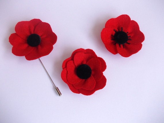 Red poppy flower lapel pin mens boutonniere felt lapel etsy image 0 mightylinksfo