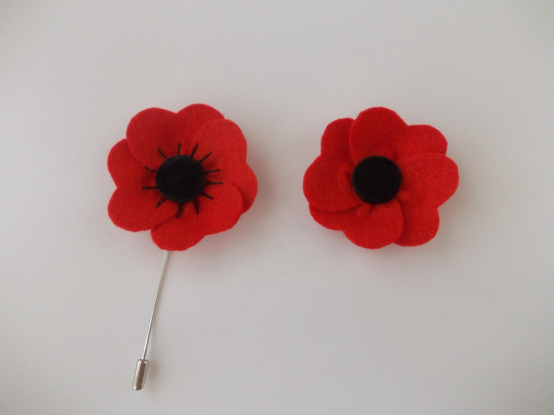 Red Poppy Flower Lapel Pin Mens Boutonniere Felt Lapel Etsy